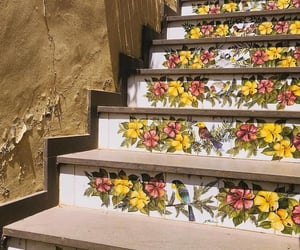 art, flowers, and stairs image