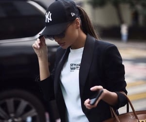 girl, bag, and black image