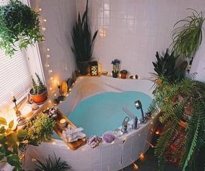 bathroom, plants, and crystal image