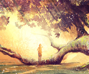 anime, tree, and forest image