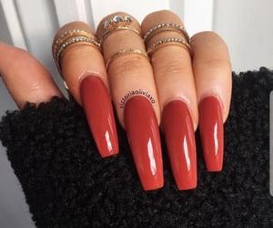 nails, acrylic, and autumn image