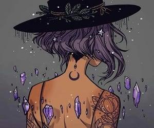 moon, art, and purple image