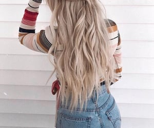 blonde, plait, and curly image