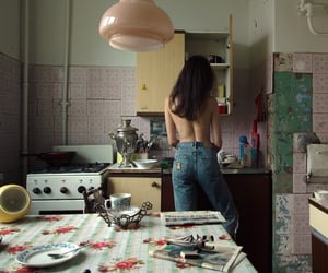 girl and kitchen image
