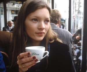 kate moss, model, and coffee image