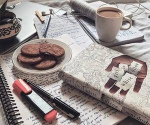 books, coffee, and food image