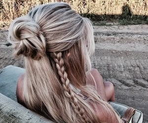 blonde, plait, and bun image