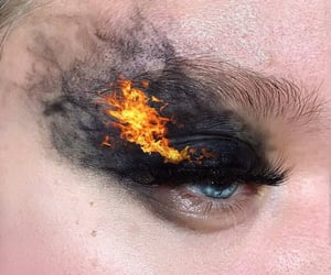 makeup, black, and fire image