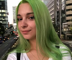 girls, green, and green hair image