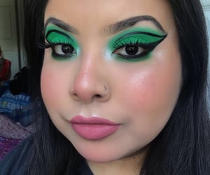 eyeliner, green, and makeup image