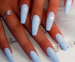 nails, beauty, and blue nails image