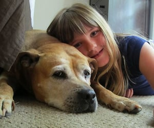 dog and girl friends image