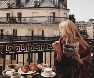 girl, coffee, and travel image