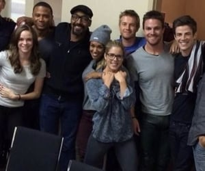 danielle panabaker, david ramsey, and stephen amell image