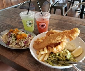fish and chips, food, and Long Beach image