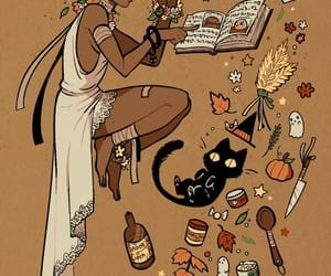 witch, art, and cat image