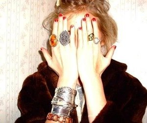girl, rings, and red nails image