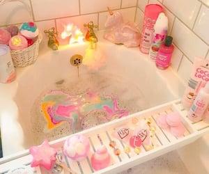 bathtub, unicorns, and pink image