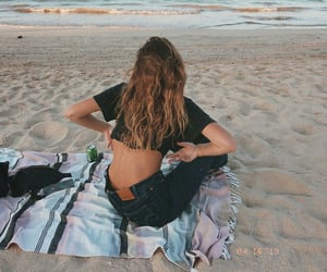 beach, curly, and photography image