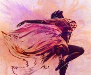 ballet dancer, digital painting, and purple image
