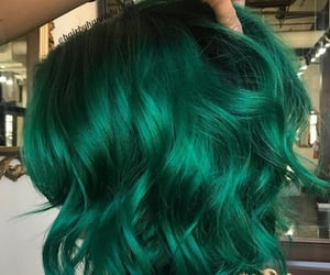 colored hair, green hair, and hair image