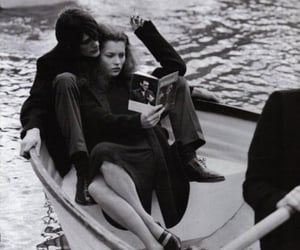 black and white, book, and couple image