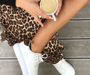 coffee, fashion, and leopard print image