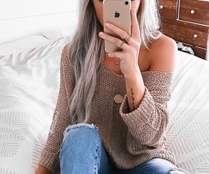 denim, hair, and spring outfit image