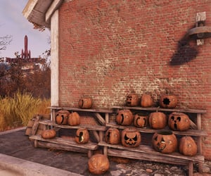 autumn, carved, and fallout image