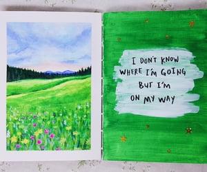 acrylic, art journal, and green image
