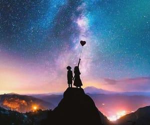 love, stars, and sky image