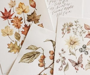 autumn, drawing, and flowers image