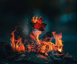 autumn, bonfire, and colorful image