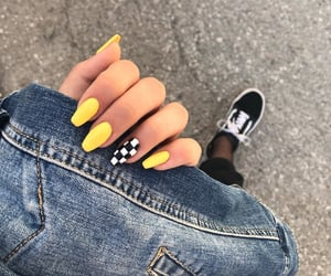 nails, yellow, and checkerboard image