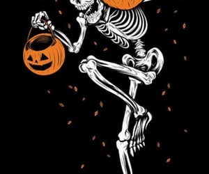Halloween, background, and skeleton image