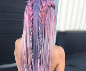 braids, color hair, and hairstyle image
