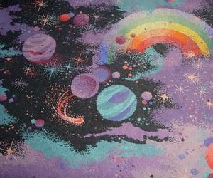 art, planet, and rainbow image