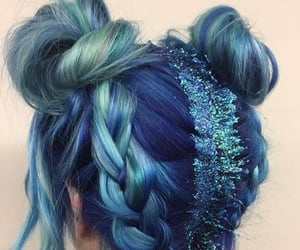 blue hair, braids, and buns image