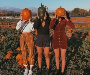 girl, orange, and autumn image