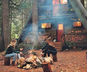 autumn, cabin, and campfire image