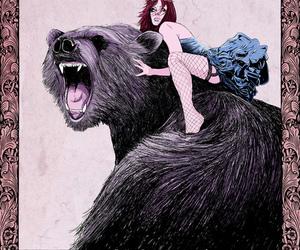 bear, girl, and riding image