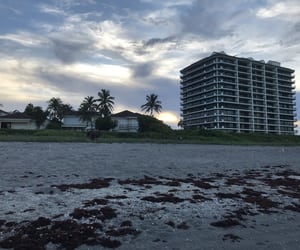 beach, clouds, and hotel image