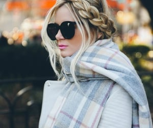 blonde, scarf, and sunglasses image