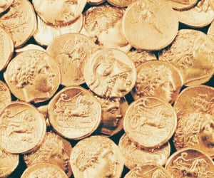 aesthetic, gold, and coins image