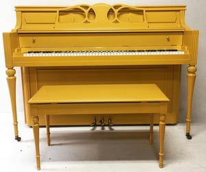 piano, vintage, and yellow image