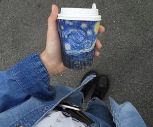 art, blue, and coffee image