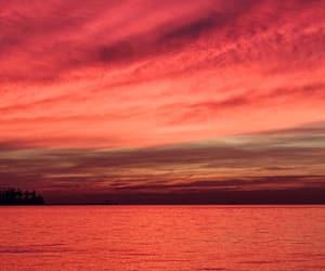 clouds, ocean, and orange image