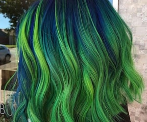 blue hair, colored hair, and green hair image