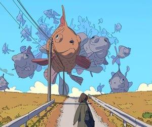 art, sky, and fish image