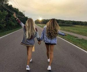 best friends, girls, and hair image
